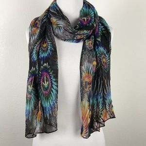 Accessories - Scarve Abstract Feather Design Black Multicolor